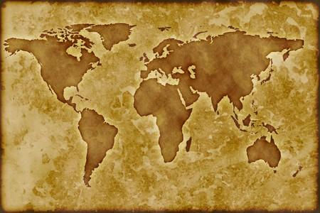 Old worldmap Standard-Bild