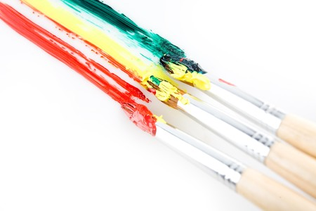 used paint brushes of different colors Stock Photo - 4466084