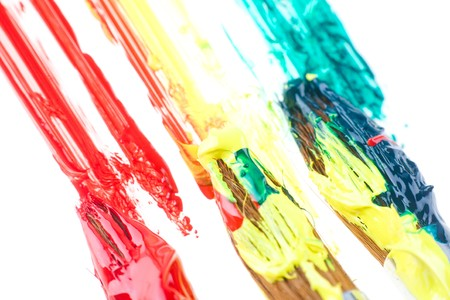 used paint brushes of different colors photo