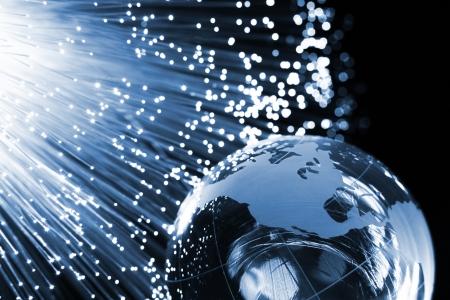 fiber cable: Glasvezel achtergrond met veel licht vlekken