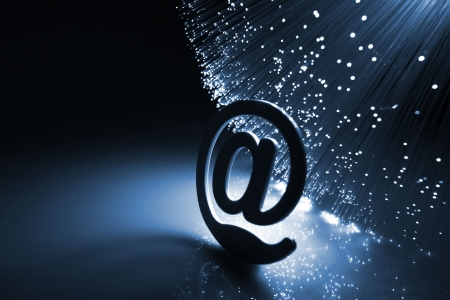 electronic mail: Fiber optics background with lots of light spots