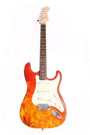 Fire electric guitar  on white background Stock Photo - 4839069