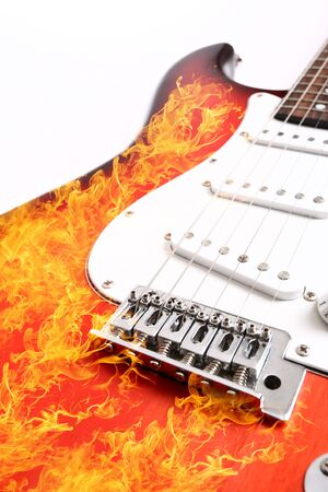 Fire electric guitar  on white background Stock Photo - 4839137