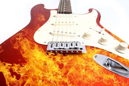 Fire electric guitar  on white background Stock Photo - 4839136