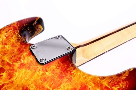 Fire electric guitar  on white background Stock Photo - 4839135