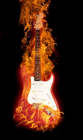 Fire electric guitar Stock Photo - 4839134