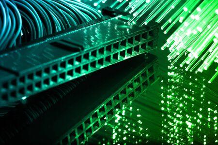 pci card: Fiber optics background with lots of light spots
