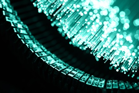Fiber optics background with lots of light spots photo