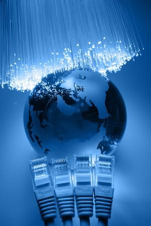 fibre optique: Arri�re-plan de fibre optique avec beaucoup de taches de lumi�re