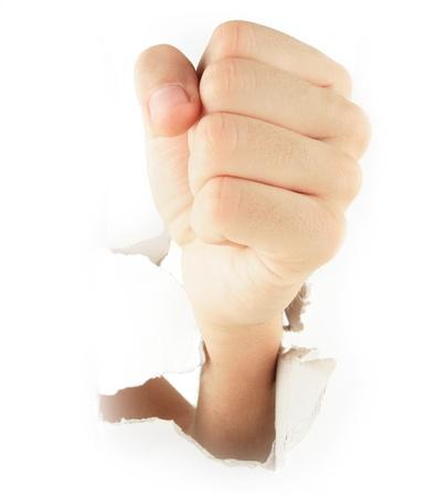 Hand punching through Stock Photo - 9103270