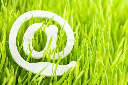 e-mail and fresh grass Stock Photo - 9574133