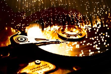 Fiber optics background with lots of light spots photo