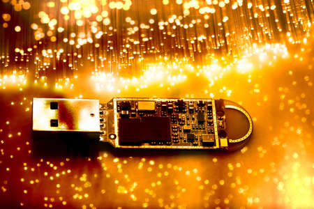 Fiber optics background with lots of light spots Stock Photo - 9624100