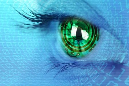 eye iris and  circuit and binary internet concept Standard-Bild