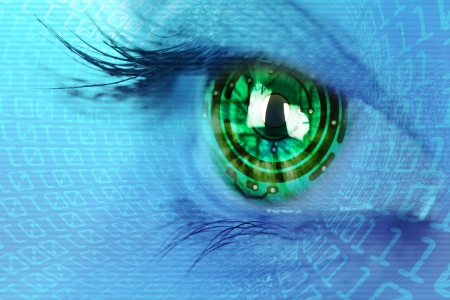 futuristic woman: eye iris and  circuit and binary internet concept Stock Photo