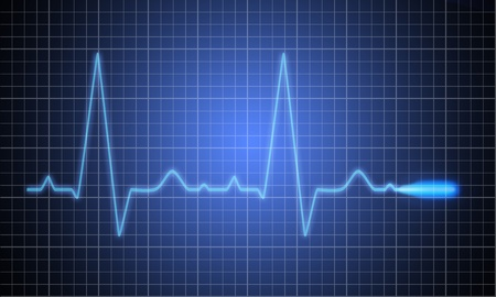 heart ecg trace: Medical heart monitor measuring heartbeat rate with blue background