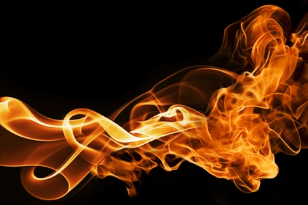 gas flame: fire and smoke  isolated on black  Stock Photo
