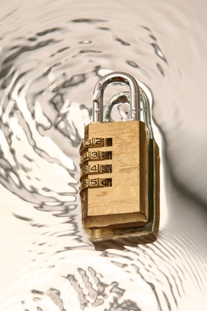 combination padlock on water Stock Photo - 17545147