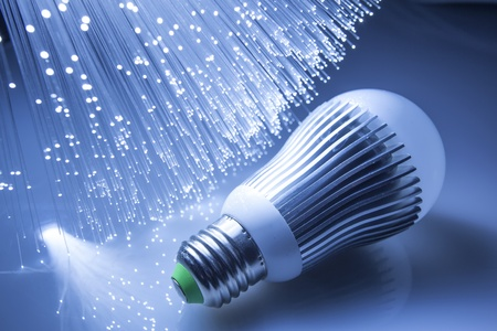 saving energy: Fiber optics background with lots of light spots