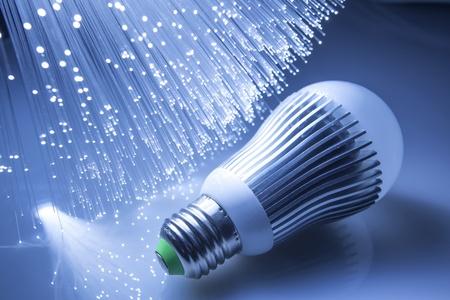 ahorro energia: Fibra óptica de fondo con muchos puntos de luz
