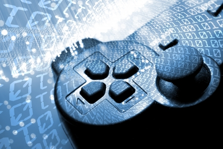 Game controller and  blue light and binary tunnel Stock Photo