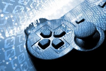 Game controller en blauw licht en binaire tunnel