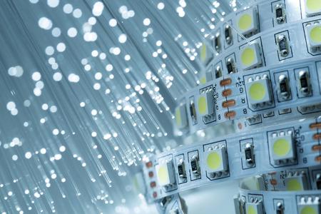 LED ストリップ ライトと光ファイバーの背景 写真素材