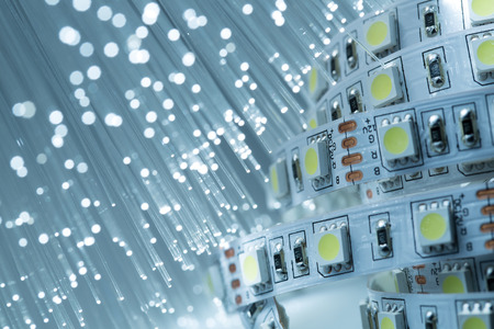 LED strip light and Fiber optics background Standard-Bild