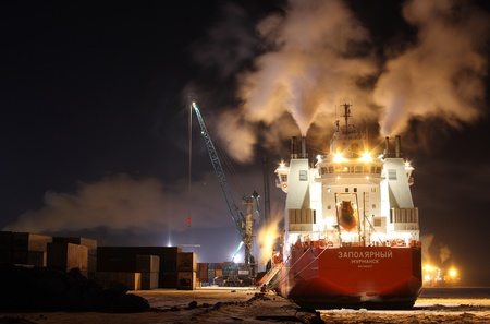 Container ship Zapolyarnyy on loading in port, Dudinka Stock Photo - 9891534