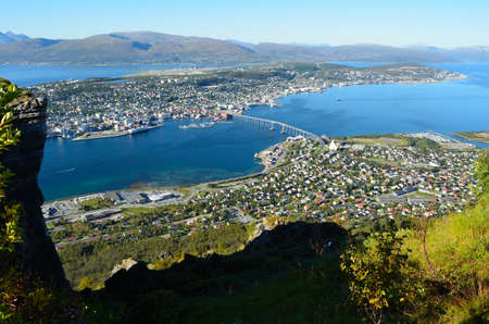 Tromsoe city on a sunny autumn day photo