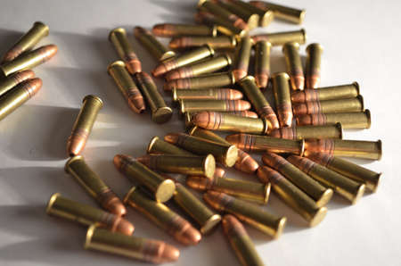 caliber: ammonition pile 22 caliber Stock Photo