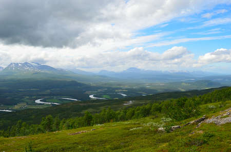 white salmon river: Mighty mountains and twisted river in Maalselv, Norway in summer
