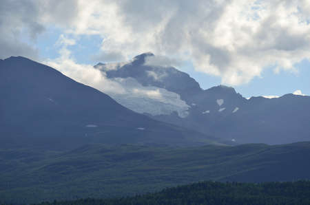 artic circle: mountain and sky landscape in summer