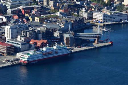 docking: M S northern norway cruise boat docking Editorial