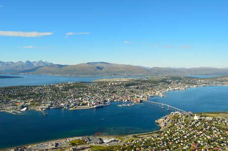 landscape photo of Tromsoe Tromso city on sunny autumn day photo