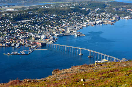 landscape photo of Tromsoe Tromso city on sunny autumn day photo
