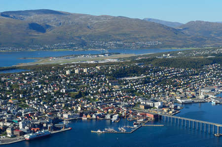 Sunny overview photo of the arctic city of Tromso