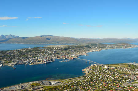 sea scape: Sunny overview photo of the arctic city of Tromso