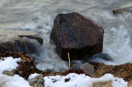 deep freeze: Big boulder gets bashed by cold arctic waves in Norway in the middle of october