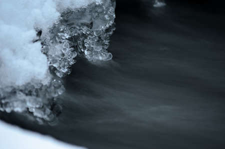 icey: Frozen arctic river water creates beautiful ice shapes in winter macro photo
