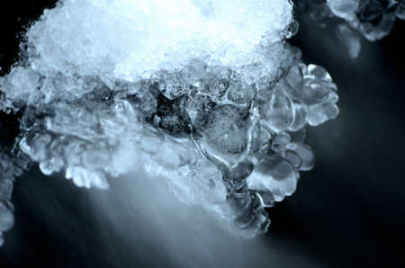 Frozen arctic river water creates beautiful ice shapes in winter macro photo photo