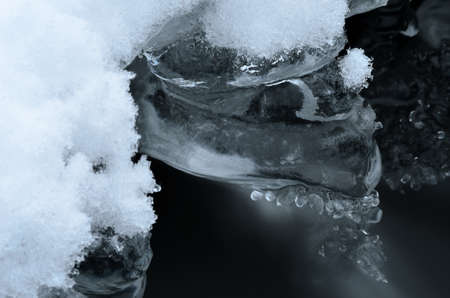 arctic waters: ice shape and river water flow in winter beauty macro photo