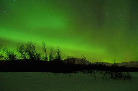 polaris: Strong green aurora borealis over a snow covered mountain in the arctic circle