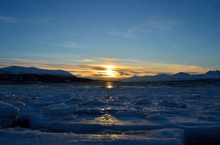 Mighty and majestic sunny landscape in northern Norway, Tromsoe photo