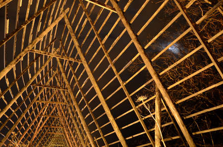 stockfish: inside wooden stockfish structure at night with moonlight