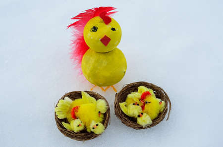 self made: Easter chickens on snow Stock Photo