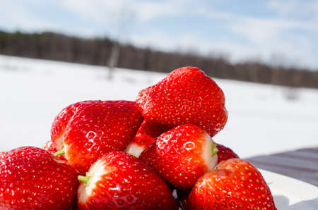 berryes: sweet red strawberries with blue sky background Stock Photo