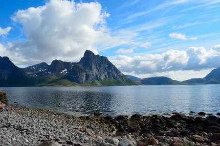 majestic mountain in ocean in summer photo