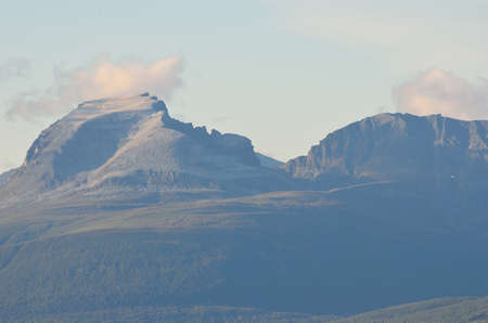 sleeping soldier mountain formation in northern norway in autumn photo