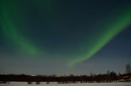 artic circle: aurora borealis, northern light over snowy winter field